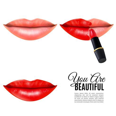 Affiche réaliste de maquillage lèvres de beauté