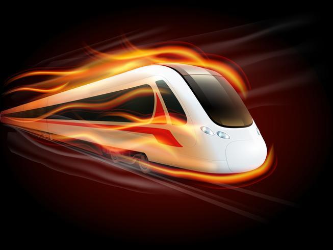 Tren de velocidad fuego fondo negro diseño