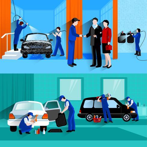 Servicio de lavado de autos 2 Banners planos