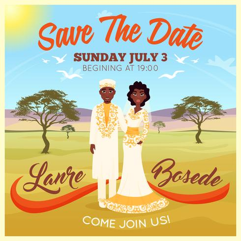 Cartel de pareja de boda africanos vector