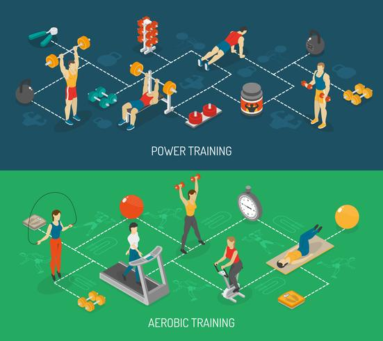 Cardio And Strength Training Isometric Banners Set vector