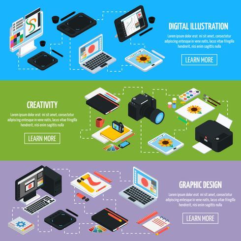 Insegne orizzontali isometriche di progettazione grafica