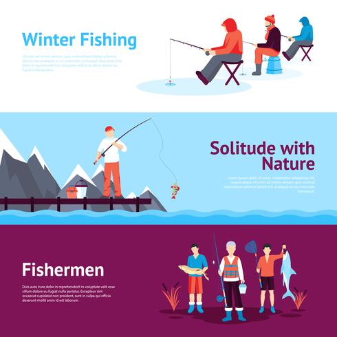 Seasonal Fishing Horisontell Banners Set
