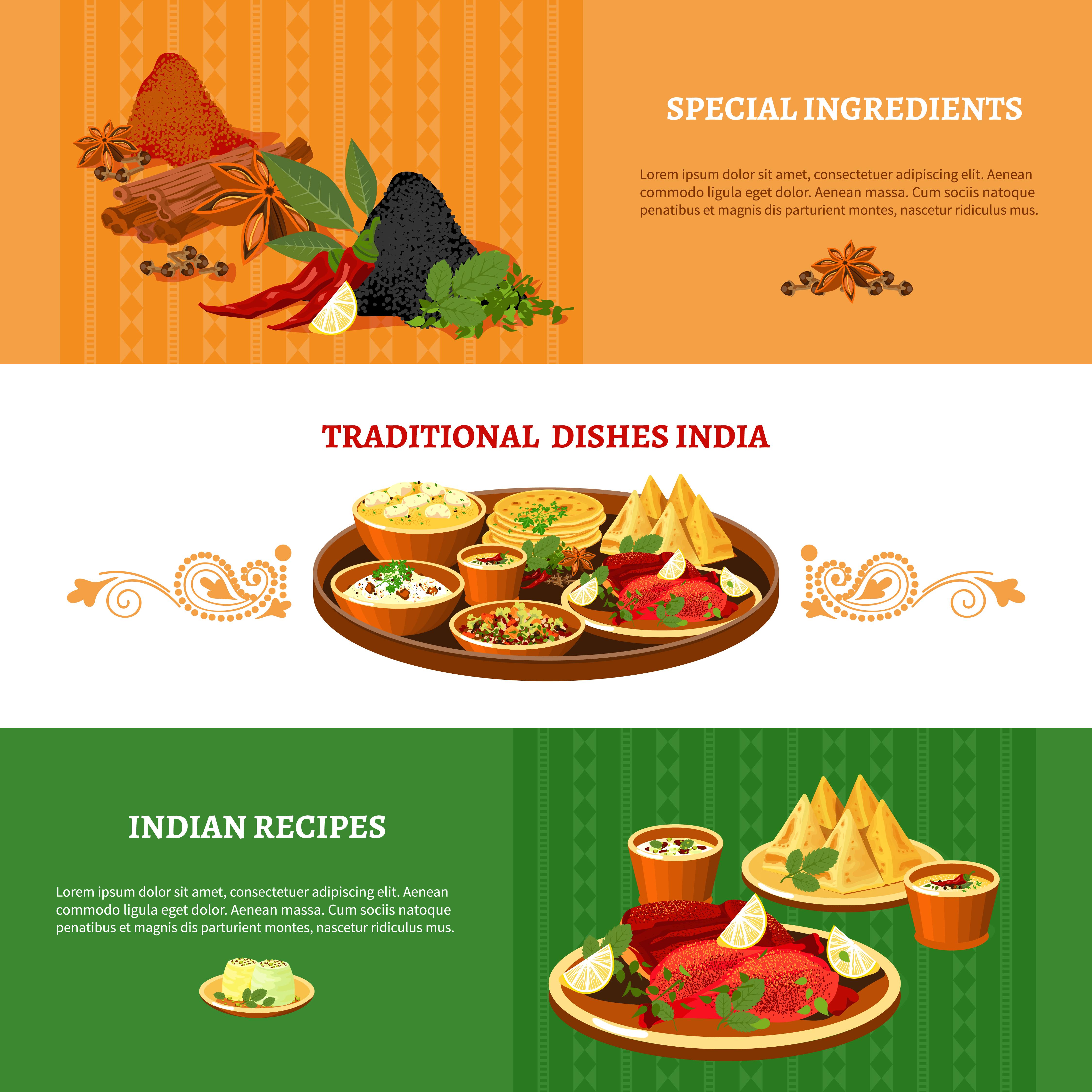 Indian Cuisine 3 Flat Banners Set Download Free Vectors Clipart