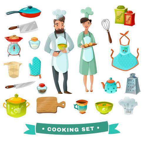 Cocina conjunto de dibujos animados