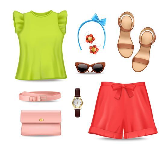 Set di accessori per abbigliamento donna vettore