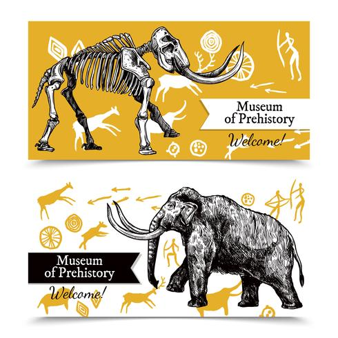 Sketch Hand Drawn Mammoth Banners vector