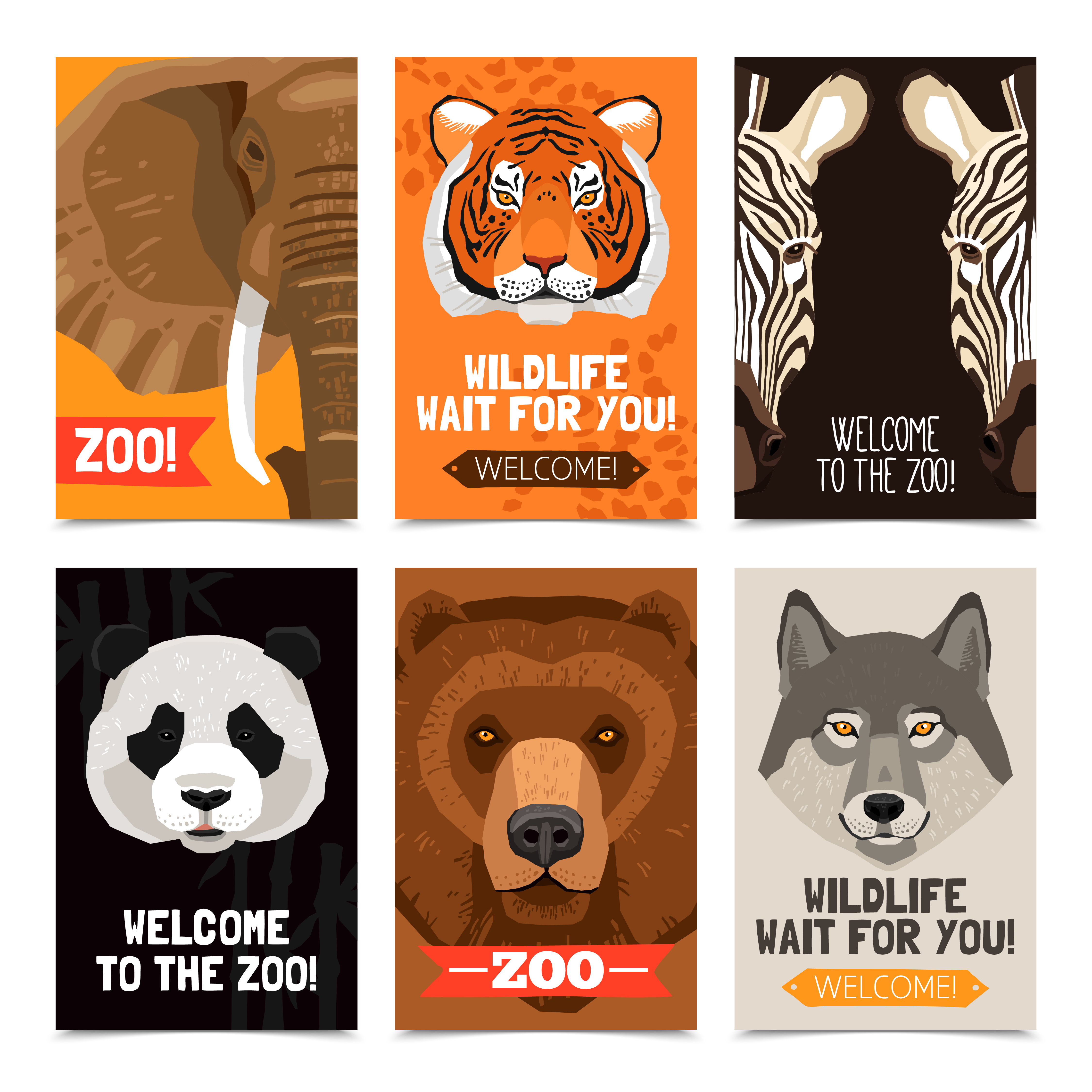 Flat Modern Colored Logo Collection: Animals Mini Posters Set 478436 Vector Art At Vecteezy