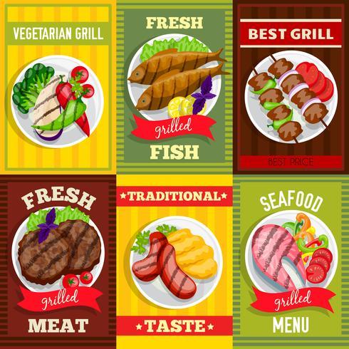 Barbecue Mini Posters Set vector