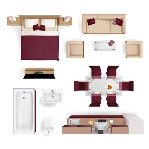 Interior Elements Top View Realistic Image vector