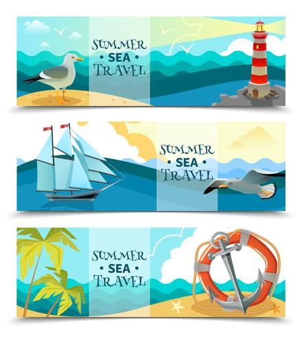 Banners horizontales náuticos de mar