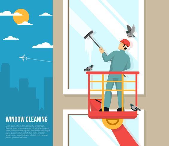 Laveur De Vitres Au Travail Illustration Plate Telecharger