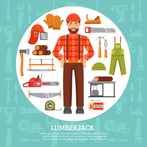 Lumberjack And Tools Icons Set