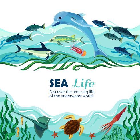 Ilustración de dibujos animados de vida submarina de mar vector