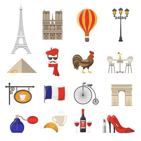 Conjunto de iconos de Francia vector