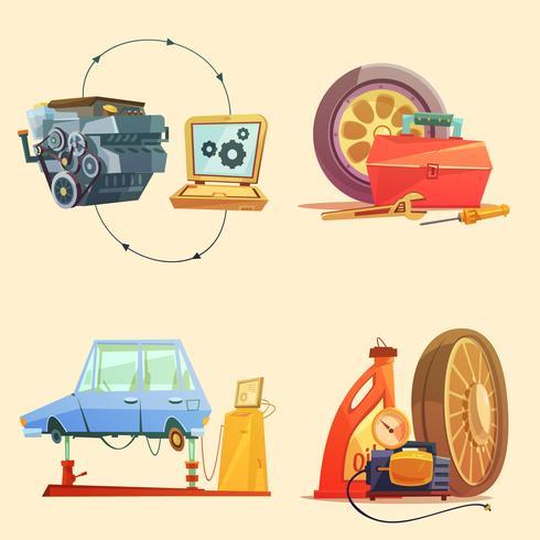 Auto Service Retro Cartoon Icon Set