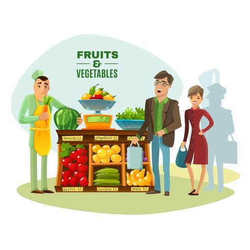 Groenten en fruit verkoper illustratie
