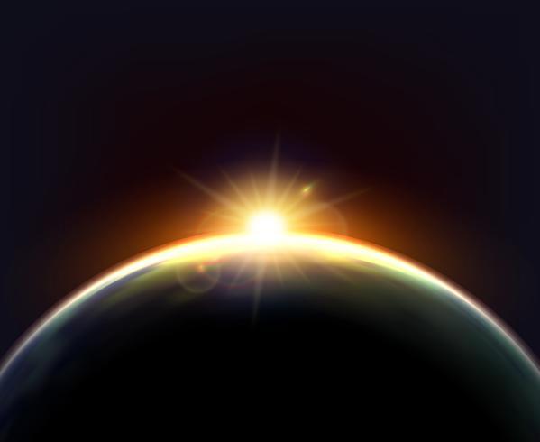 Cartel oscuro del fondo de la luz del sol de la tierra del globo vector