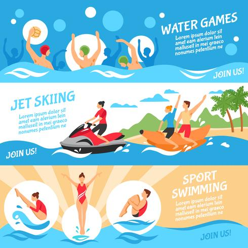 Conjunto de Banners de deportes acuáticos