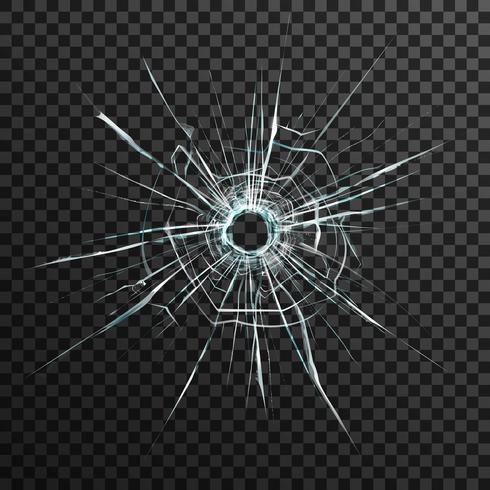 Einschussloch in transparentem Glas vektor