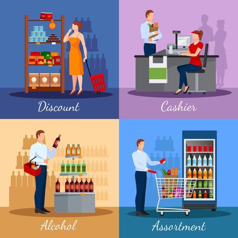 Surtido de productos en supermercado vector