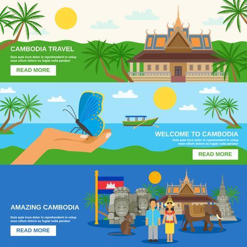 Kambodjansk kultur 3 Horisontell bannersats