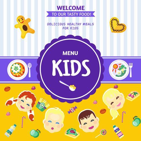 Póster plano del menú de comida para bebé