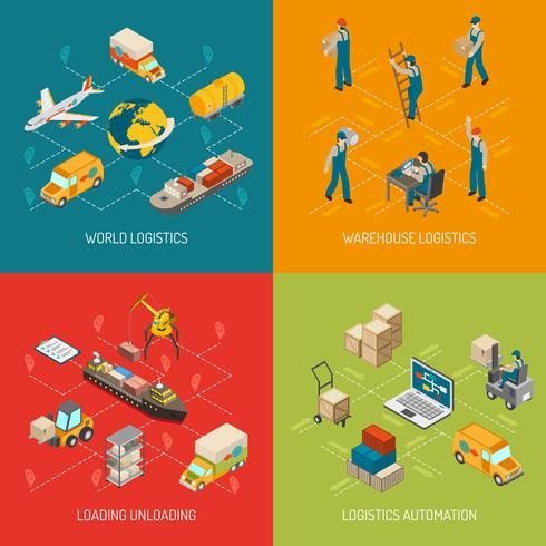 Logistiek Concept 4 Isometrische Icons Set