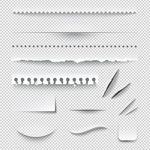 Genomskinliga rutiga papperskanter realistiska uppsättning
