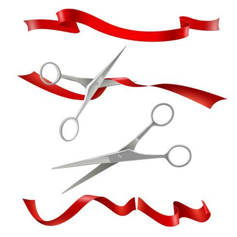 Tijeras de corte de cinta roja realista conjunto vector