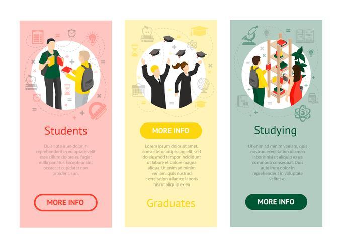 College University isometrische verticale banners vector