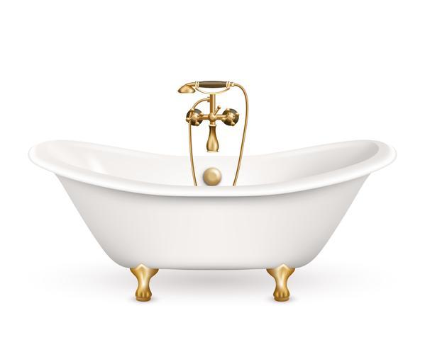 Realistische Retro badkuip pictogram