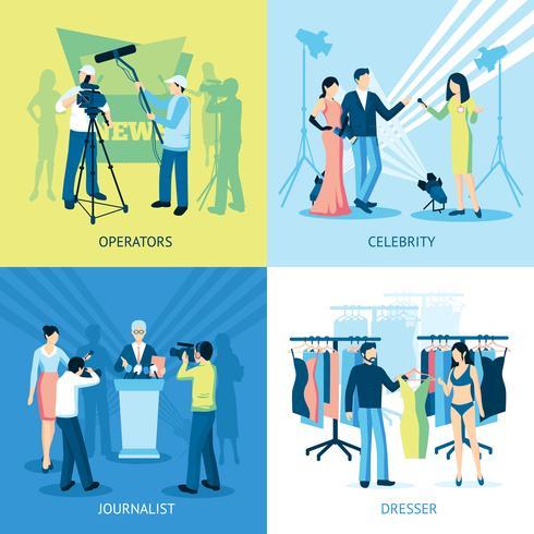 Conjunto de iconos de Pressman y periodista concepto vector