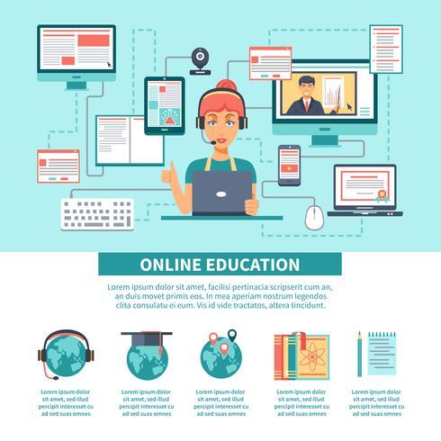 Online onderwijs Training Infographics vector