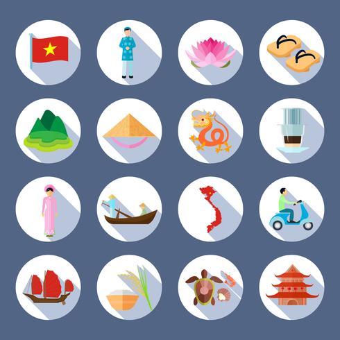 Symboles vietnamiens plats ronds ensemble d'icônes vecteur