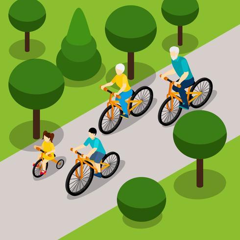 Bannière isométrique de grands-parents faisant du vélo avec des enfants vecteur