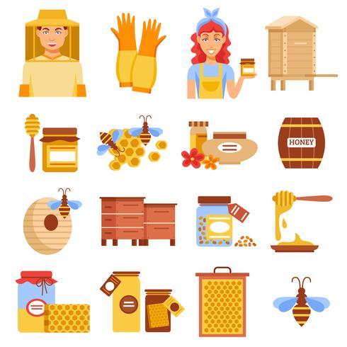 Conjunto de ícones de apicultura de mel vetor