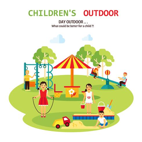 Outdoor Playground Flat Illustration vector