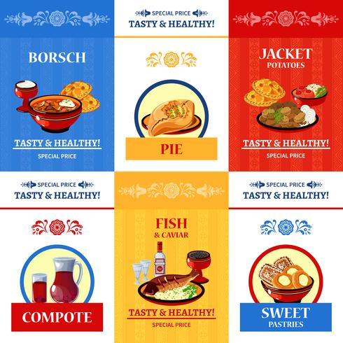 Russian Cuisine Flat Icons Composition Poster vector