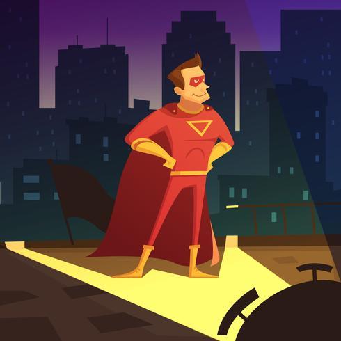 Superman en la ilustración de la ciudad de noche vector