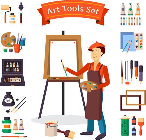 Artista e conjunto de ferramentas de arte