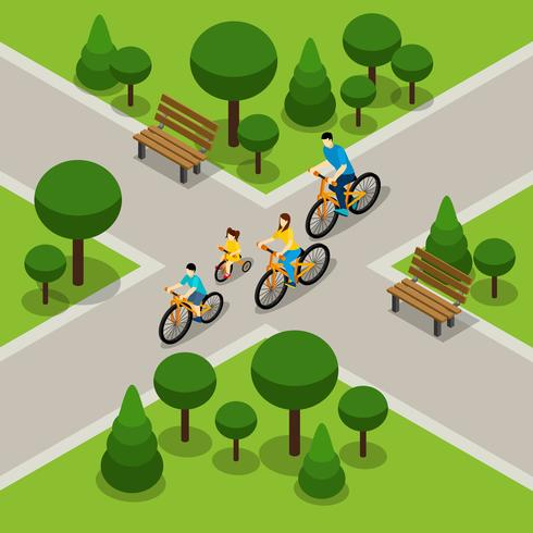 Stadtpark Radfahren Familie isometrische Banner