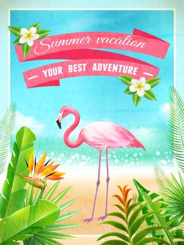 Affiche de vacances d'été exotiques de Flamingo Bird