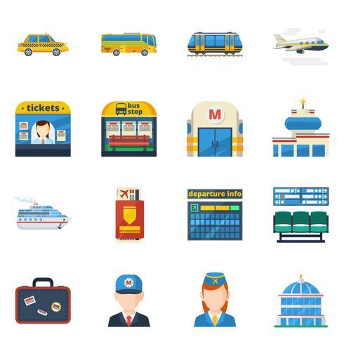 Flache Ikonen des Passagiertransports