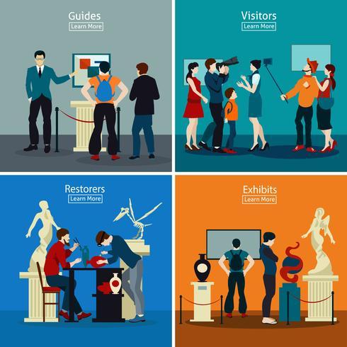 Gente en museo y galería 2x2 concepto de diseño vector