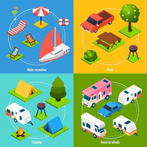 Camping und Reisen isometrische 2x2 Icons Set