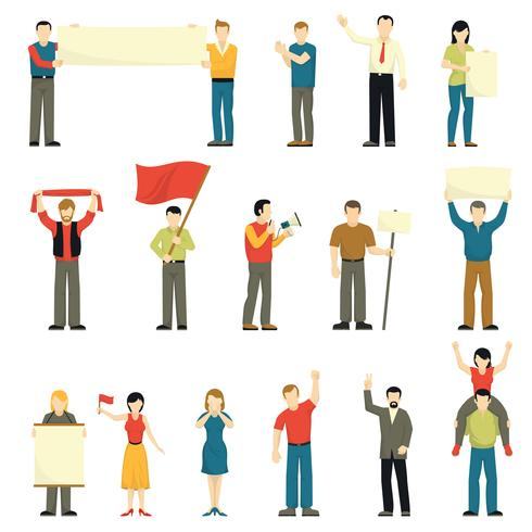 Cheering Protesting People Decorative Icons Set