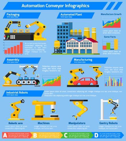 Infografía ortogonal del transportador de automatización vector