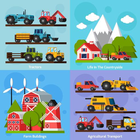 Farm Orthogonal Flat 2x2 Icons Set