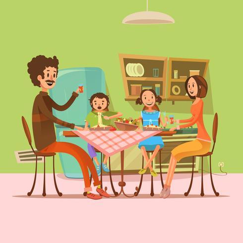 Familj som har måltidsillustration